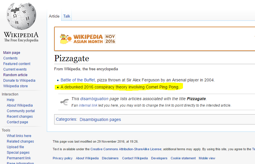 Wikipedia pizzagate