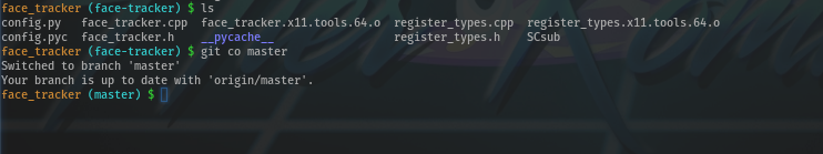 screencap of bash showing branch name in the prompt