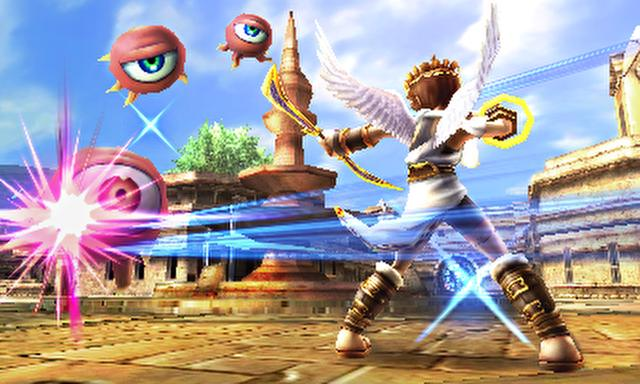 Pit – celestial from Kid Icarus, shooting floating eyes monsters with his bow